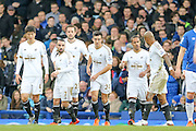 Swansea City celebrate Swansea City midfielder Gylfi Sigurdsson penalty during the Barclays Premier League match between Everton and Swansea City at Goodison Park, Liverpool, England on 24 January 2016. Photo by Simon Davies.