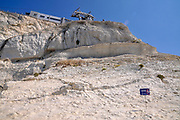 The white cliff at Rosh Hanikra, Israel. Rosh Hanikra is a Limestone cliff on the beach of Upper-Galilee on the border between Israel and Lebanon, chiselled out into labyrinthine grottoes filled with seawater formed by the geological and biological processes and by waves lapping on the soft rock.
