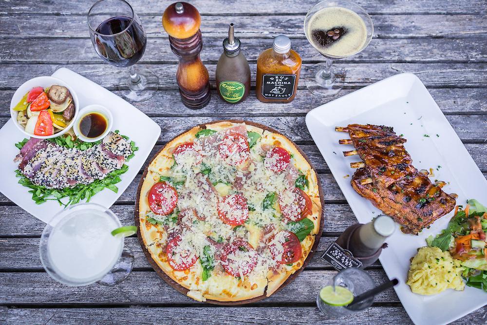 Sesame Crusted Tuna, Italian Pizza, and Pork Ribs, Hot Sauce, Red Wine, Espresso Martini, Margarita Classic, and Long Island Iced Tea.