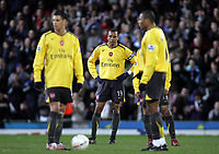 Photo: Paul Thomas.<br /> Blackburn Rovers v Arsenal. The FA Cup. 28/02/2007.<br /> <br /> Dejected captain Gilberto Silva and Arsenal wait to while Blackburn celebrate their goal.
