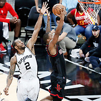 01 May 2017: Houston Rockets forward Trevor Ariza (1) goes for the layup past San Antonio Spurs forward Kawhi Leonard (2) during the Houston Rockets 126-99 victory over the San Antonio Spurs, in game 1 of the Western Conference Semi Finals, at the AT&T Center, San Antonio, Texas, USA.