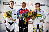 Ladies podium after the final Elite Womens race at the 2011 UCI BMX Supercross World Cup in London. 1st READE Shanaze, 2nd WALKER Sarah, 3rd REYNOLDS Lauren