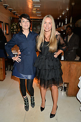 Left to right, CHARLOTTE STOCKDALE and COLLETTE DINNIGAN at a dinner to celebrate the publication of Obsessive Creative by Collette Dinnigan hosted by Charlotte Stockdale and Marc Newson held at Mr Chow, Knightsbridge, London on 9th February 2015.