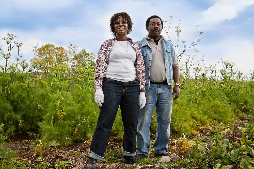 Southern Horizons farmers Margaret Zondo and Rodney Garnes working in their market garden at McVean incubator farm, Brampton, Ontario.
