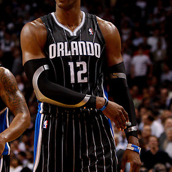 March 3, 2011; Miami, FL, USA; Orlando Magic center Dwight Howard (12) during a game against the Miami Heat at the American Airlines Arena. The Magic defeated the Heat 99-96.    Mandatory Credit: Derick E. Hingle