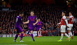 LONDON, ENGLAND - Saturday, November 3, 2018: Liverpool's captain James Milner celebrates scoring the first goal with team-mate Roberto Firmino during the FA Premier League match between Arsenal FC and Liverpool FC at Emirates Stadium. (Pic by David Rawcliffe/Propaganda)