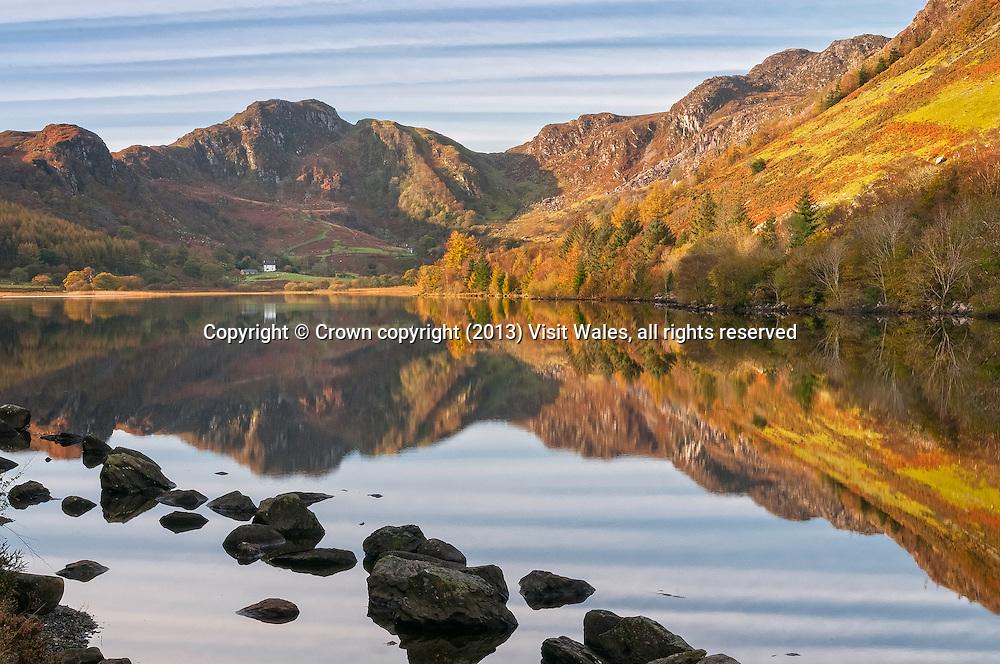 Llyn Crafnant in autumn<br /> Near Trefriw<br /> Conwy County <br /> Snowdonia<br /> North<br /> Scenery