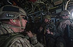Image shows troops from 77 Brigade on board an Osprey as it flies over Camp Upshur as part of an exercise with the United States Marine Corps and Army at Quantico Marine Corps Base, Quantico Virginia. <br /> <br /> 22/05/2015<br /> <br /> Elements of 77X are working with American troops on Combined Unit Exercise (CUX) 15.2 - a 3 week exercise meant to test Marine Corps Information Operations Centre (MCIOC) personnel in a variety of Information<br /> Operation techniques. <br /> <br /> <br /> Credit should read: Cpl Mark Larner RY