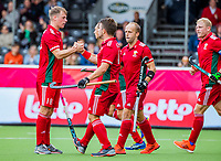 ANTWERP - BELFIUS EUROHOCKEY Championship  .  Spain v Wales (5-1). Gareth Furlong (Wales) (l) scored and celebrates with Stephen Kelly (Wales) .   WSP/ KOEN SUYK
