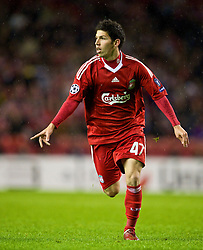 LIVERPOOL, ENGLAND - Wednesday, December 9, 2009: Liverpool's  Daniel Pacheco in action against AFC Fiorentina during the UEFA Champions League Group E match at Anfield. (Photo by David Rawcliffe/Propaganda)