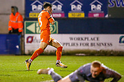 Luton Town defender Dan Potts (3) shoots towards the goal  and is upset by the near miss during the The FA Cup 3rd round replay match between Luton Town and Sheffield Wednesday at Kenilworth Road, Luton, England on 15 January 2019.
