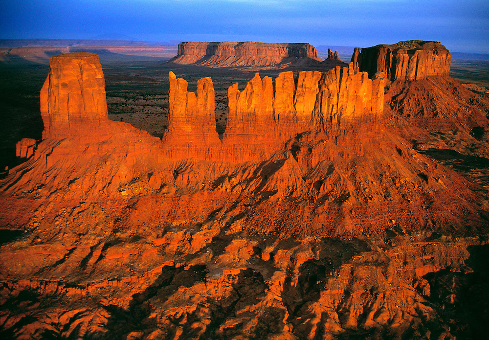 An aerial shot of the buttes shows how they fill Monument Valley in Utah.
