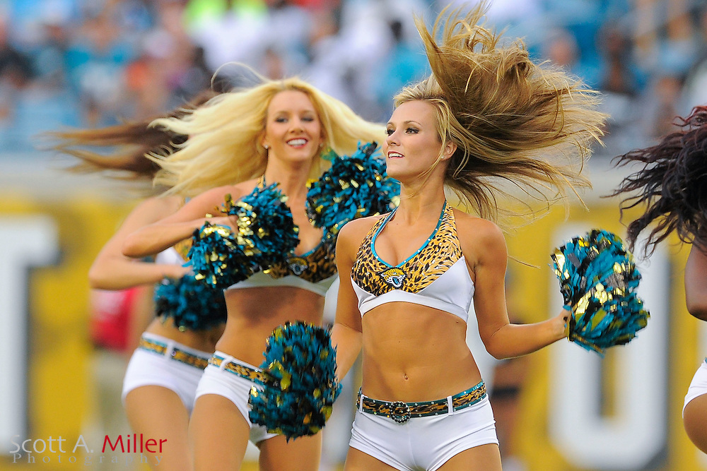 Jacksonville Jaguars. cheerleaders prior to a preseason NFL game against the Philadelphia Eagles at EverBank Field on Aug. 24, 2013 in Jacksonville, Florida. The Eagles won 31-24.<br /> <br /> &copy;2013 Scott A. Miller
