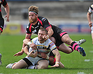 Adam Sidlow of Bradford Bulls is brought down by Danny Kirmond of Wakefield Trinity Wildcats during the First Utility Super League match at Odsal Stadium, Bradford<br /> Picture by Richard Land/Focus Images Ltd +44 7713 507003<br /> 01/06/2014