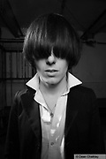 Spider Webb, member of The Horrors, wearing their Goth/Mod style, Southend, UK 2006