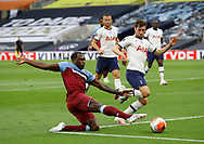 Michail Antonio of West Ham United gets in front of Ben Davies of Tottenham during the Premier League match at the Tottenham Hotspur Stadium, London. Picture date: 23rd June 2020. Picture credit should read: David Klein/Sportimage