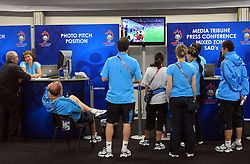 Watching the game in Wien press center at UEFA EURO 2008 at Ernst-Happel Stadium, on June 8,2008, in Vienna, Austria.  (Photo by Vid Ponikvar / Sportal Images)