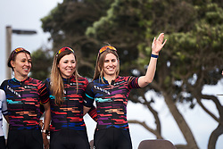 Alexis Ryan (USA) waves to the home crowd at Amgen Tour of California Women's Race empowered with SRAM 2019 - Team Presentation in Ventura, United States on May 15, 2019. Photo by Sean Robinson/velofocus.com