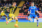 Tom Naylor, Joe Rafferty during the Sky Bet League 1 match between Rochdale and Burton Albion at Spotland, Rochdale, England on 30 January 2016. Photo by Daniel Youngs.