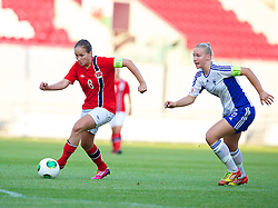 LLANELLI, WALES - Thursday, August 22, 2013: Norway's Guro Reiten in action against Finland during the Group B match of the UEFA Women's Under-19 Championship Wales 2013 tournament at Parc y Scarlets. (Pic by David Rawcliffe/Propaganda)