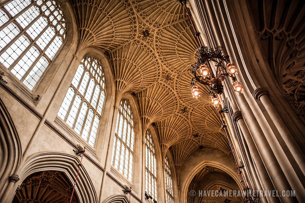 A view of the distinctive vaulted ceiling of the nave of Bath Abbey. Bath Abbey (formally the Abbey Church of Saint Peter and Saint Paul) is an Anglican cathedral in Bath, Somerset, England. It was founded in the 7th century and rebuilt in the 12th and 16th centuries.