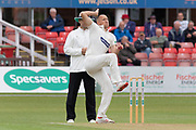 Dieter Klein bowling during the Specsavers County Champ Div 2 match between Leicestershire County Cricket Club and Lancashire County Cricket Club at the Fischer County Ground, Grace Road, Leicester, United Kingdom on 25 September 2019.