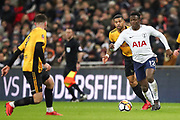 Victor Wanyama of Tottenham Hotspur keeps possession of the ball from Joss Labadie of Newport County during the The FA Cup fourth round replay match between Tottenham Hotspur and Newport County at Wembley Stadium, London, England on 6 February 2018. Picture by Toyin Oshodi.