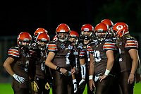 KELOWNA, BC - AUGUST 17:  Okanagan Sun stand on the field in the huddle against the Westshore Rebels  at the Apple Bowl on August 17, 2019 in Kelowna, Canada. (Photo by Marissa Baecker/Shoot the Breeze)