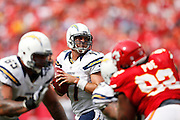 KANSAS CITY, MO - SEPTEMBER 30: Philip Rivers #17 of the San Diego Chargers looks to pass the football against the Kansas City Chiefs during the game at Arrowhead Stadium on September 30, 2012 in Kansas City, Missouri. The Chargers won 37-20. (Photo by Joe Robbins) *** Local Caption *** Philip Rivers