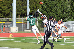 01 October 2016:  Kyle Fox attempts to deflect a pass intended for Austin Wagner who catches it for a touchdown during an NCAA division 3 football game between the Wheaton Thunder and the Illinois Wesleyan Titans in Tucci Stadium on Wilder Field, Bloomington IL (Photo by Alan Look)