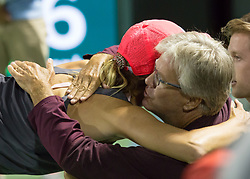 March 28, 2018 - Key Biscayne, Florida, United States - Danielle Collis, from the USA, hugging her father and coach after defeating Vanus Williams 6-2, 6-3 for the quarter finals a the Miami Open in Miami, on March 28, 2018. (Credit Image: © Manuel Mazzanti/NurPhoto via ZUMA Press)