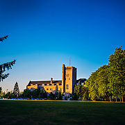 Johnston Hall lit by a setting sun. Photo by Claire Teri