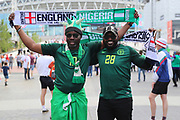 Nigeria fans during the Friendly International match between England and Nigeria at Wembley Stadium, London, England on 2 June 2018. Picture by Matthew Redman.
