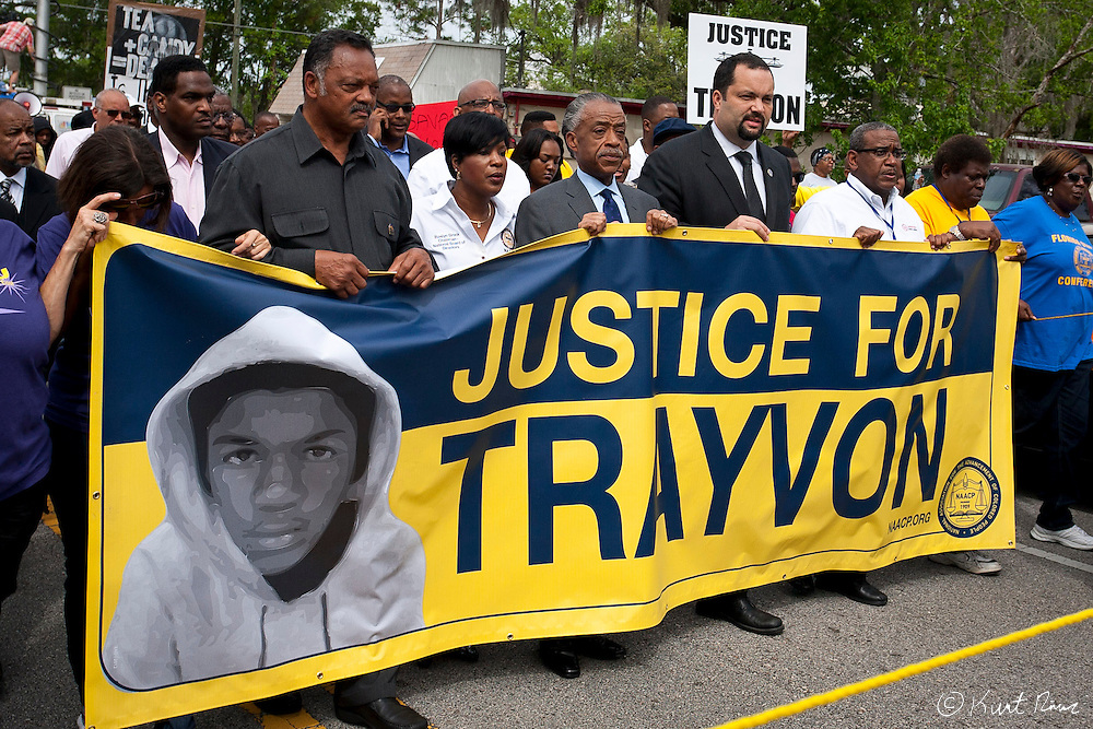 March 31, 2012 - Sanford, Florida, U.S. - JESSE JACKSON, ROSLYN BRCK, Reverend AL SHARPTON, and NAACP President BENJAMIN JEALOUS rally in the streets of Sanford, Florida for the justice of Treyvon Martin.
