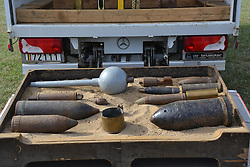 BOMBS AND SHELLS BEING FOUND EVERY DAY IN FIELDS AROUND YPRES OF FIRST WORLD WAR, Centenary of Passchendaele 100 years, 1st August 2017Centenary of Passchendaele 100 years, 1st August 2017