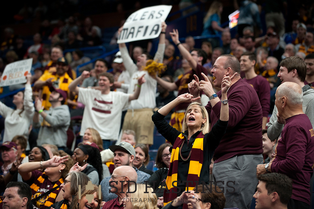 Loyola University Chicago fans cheer as the Ramblers' battle the Bradley University during the semifinals of the Missouri Valley Conference men's basketball tournament at Scottrade Center in St. Louis Saturday, March 3, 2018. Photo © copyright 2018 Sid Hastings.