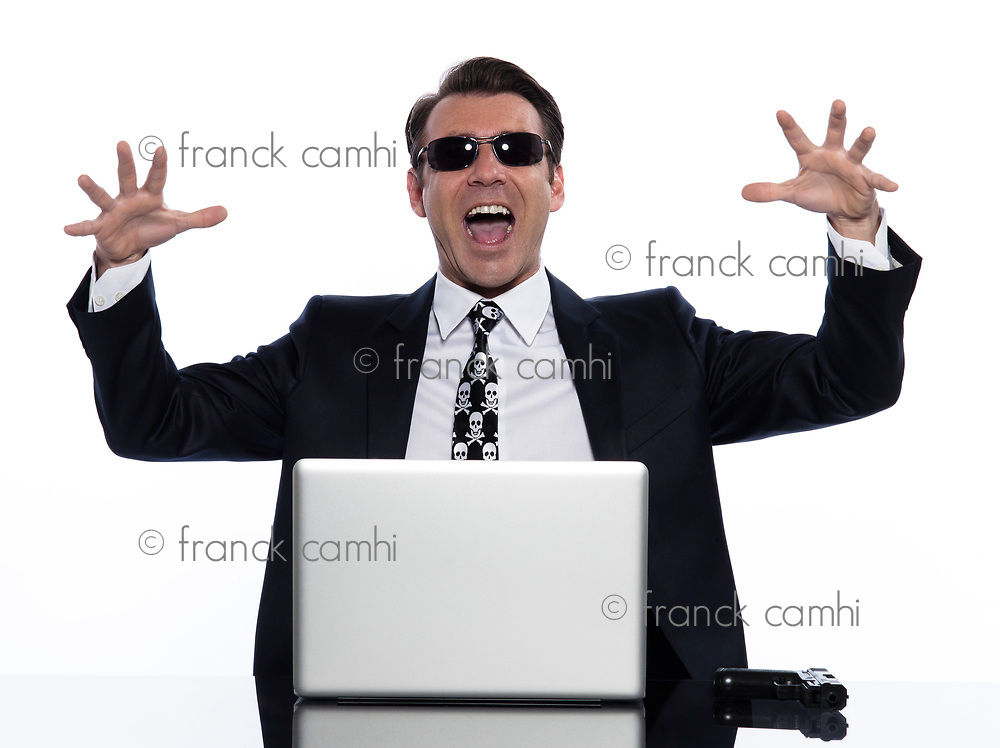 man caucasian hacker computer attack isolated studio on white background