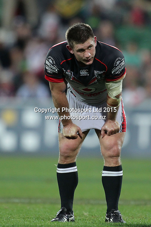 PERTH, AUSTRALIA - JUNE 06:  Jacob Lillyman of the Warriors during the 2015 NRL Round 13 Rugby League match between the Vodafone Warriors and The Rabbitohs at NIB Stadium, Perth, Australia on June 6, 2015. (Copyright photo Will Russell/www.Photosport.co.nz)