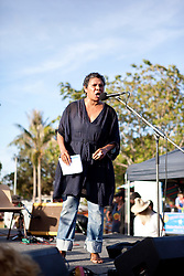 Mitch Torres addresses the crowd at the 10 December 2011 Community Rally at Town Beach in Broome.