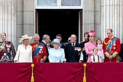Trooping the Colour is a ceremony performed by regiments of the British and Commonwealth armies and as also marked the official birthday of the British sovereign, Queen Elizabeth.It is held in London annually on a Saturday in June on Horse Guards Parade by St. James's Park<br /> <br /> On the photo: Queen Elizabeth II and Prince Philip, Duke of Edinburgh<br /> Prince William, Catherine, Kate, Duchess of Cambridge and Prince George and Princess Charlotte , Prince Harry<br /> Prince Charles, Prince of Wales and Prince Harry Camilla, Duchess of Cornwall and Catherine, Kate, Duchess of Cambridge , Princess and Eugenie and Princess Beatrice