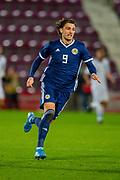 Fraser Hornby (#9) of Scotland U21 (KV Kortrijk on loan from Everton) during the U21 UEFA EUROPEAN CHAMPIONSHIPS match between U21 Scotland and U21 Greece at Tynecastle Park, Edinburgh, Scotland on 15 November 2019.