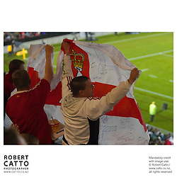 Lions Fans at the British & Irish Lions v. New Zealand Maori Match at Waikato Stadium, Hamilton, New Zealand.<br />
