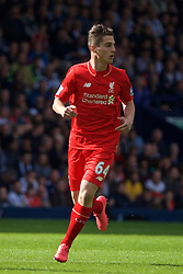WEST BROMWICH, ENGLAND - Sunday, May 15, 2016: Liverpool's Sergi Canos make this debut in action against West Bromwich Albion during the final Premier League match of the season at the Hawthorns. (Pic by David Rawcliffe/Propaganda)