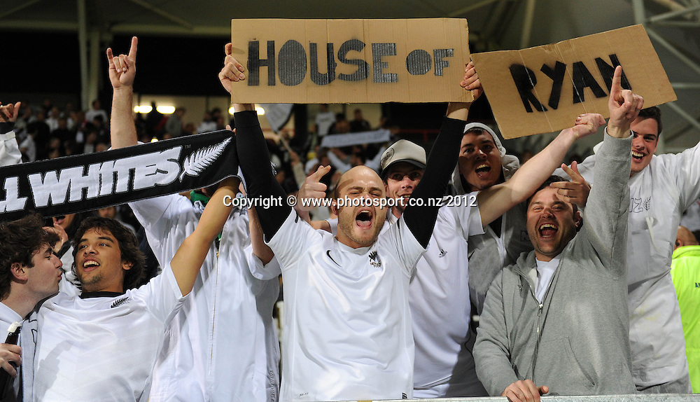 All Whites fans and supporters. New Zealand All Whites v Tahiti. FIFA World Cup Qualifier Football match at AMI Stadium. Christchurch, New Zealand. Tuesday 16 October 2012. Photo: Andrew Cornaga/photosport.co.nz