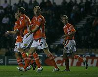 Photo: Steve Bond.<br />Derby County v Blackpool. Carling Cup. 28/08/2007. Kaspars Gorkss (front) salutes the Blackpool fans