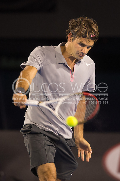 Roger Federer (SUI). Day 9. Quater Finals. Melbourne Olympic Park, Melbourne, Victoria, Australia. 22/01/2013. Photo By Lucas Wroe
