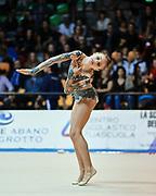 Nina Corradini atleta della società Flaminio di Roma durante la seconda prova del Campionato Italiano di Ginnastica Ritmica.<br /> La gara si è svolta a Desio il 31 ottobre 2015.