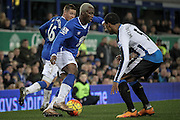 Arouna Koné (Everton) takes on Georginio Wijnaldum (Newcastle United) during the Barclays Premier League match between Everton and Newcastle United at Goodison Park, Liverpool, England on 3 February 2016. Photo by Mark P Doherty.