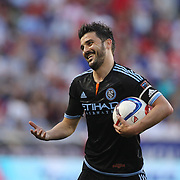 David Villa, NYCFC, reacts during the New York Red Bulls Vs NYCFC, MLS regular season match at Red Bull Arena, Harrison, New Jersey. USA. 10th May 2015. Photo Tim Clayton