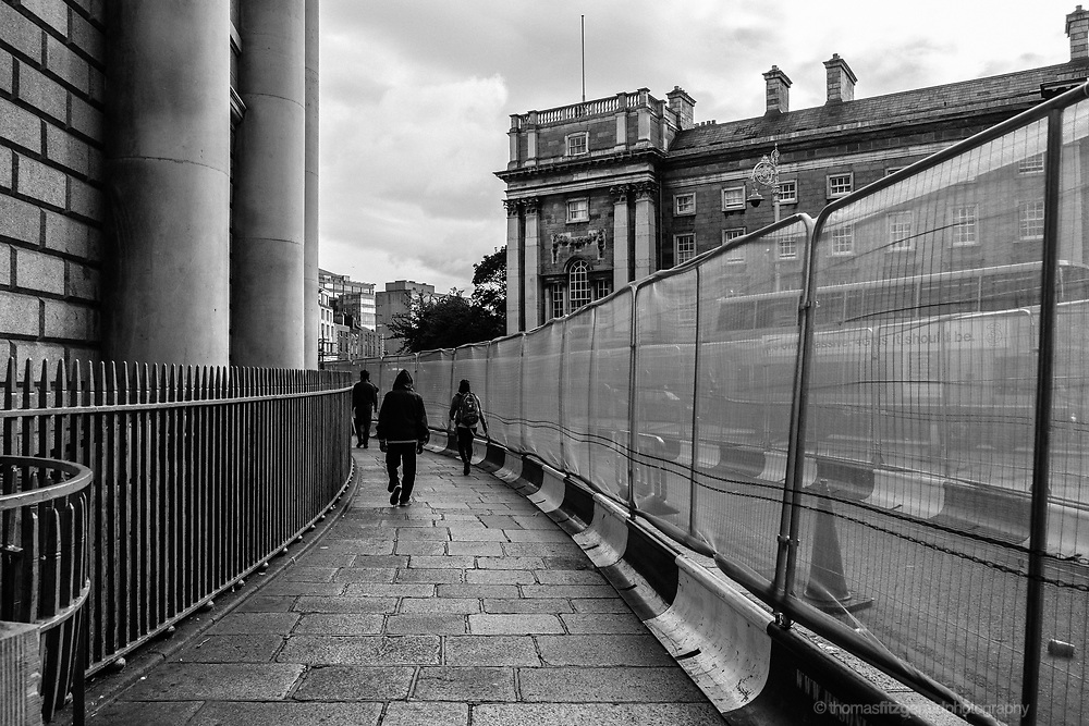 A corridor of Barricades at college Green during the Luas construction work